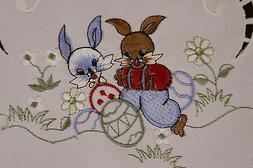 embroidery easter bunny rabbit egg embroidered tablecloth