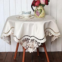 LINENLUX Embroidery Hollow Square Tablecloths Cover Towel Re