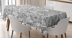 Ambesonne Ethnic Tablecloth, Monochrome Flowers Hearts and P