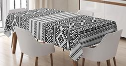 Ambesonne Ethnic Tablecloth, Oriental Tribal Moroccan Round