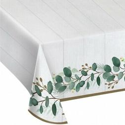 "Eucalyptus Greens Paper Banquet Tablecloth 54"" x 102"" Weddin"
