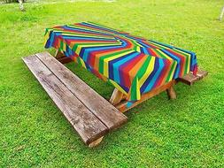 Fabric Outdoor Picnic Tablecloth Rainbow Colored Circles Pri