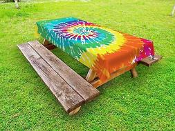 Fabric Outdoor Picnic Tablecloth Rainbow Tie Dye Grunge Prin
