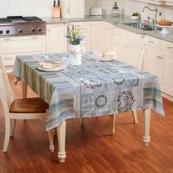 Fabric Tablecloth 52 x 70 Spring Summer Cotton Pods Shiplap