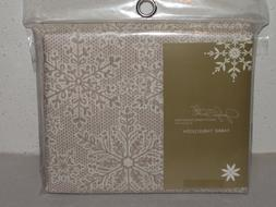 "Jaclyn Smith fabric tablecloth 60""x120"" rectangle Xmas tan l"