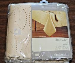 Home Trends Fabric Tablecloth Carissa Leaf GOLD Oblong 52 x