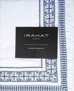 Tahari Fabric Tablecloth Embroidered Dark Blue Thread Border