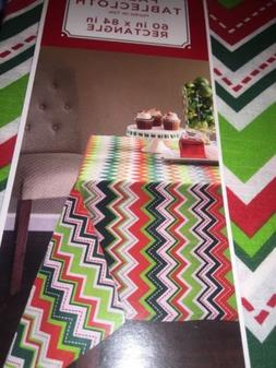 """Fabric Tablecloth Rectangle 60"""" X 84"""" Holiday Colors Abstrac"""