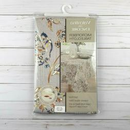 Fabric Tablecloth Valentina Leaves Flowers Gray 52x70