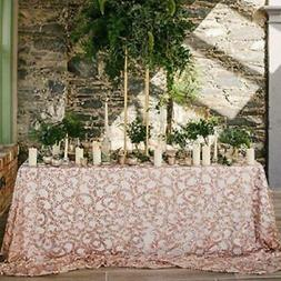 Fabulous ROSE GOLD Vine Tablecloth Sequin Embroidered Table
