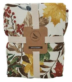 Fall Oakdale Leaves Polyester Tablecloth 70in for Round Tabl