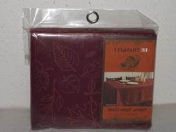 Be Thankful Fall Thanksgiving Damask Leaves Burgundy Round F