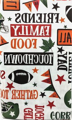 Fall Thanksgiving Football Vinyl Tablecloth Turkey Day Party