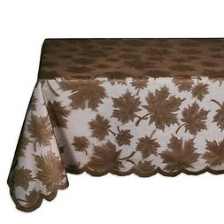 "DII 54x72"" Rectangular Lace Tablecloth, Maple Leaf Brown - P"