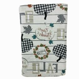Farmhouse Fall Vinyl Tablecloth Buffalo Plaid Pumpkins Leave