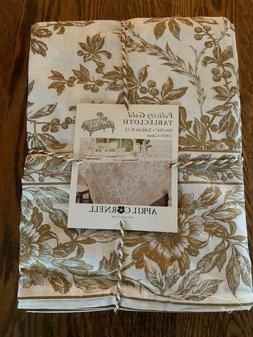 APRIL CORNELL Felicity Gold Toile Tablecloth 60X84 60X104 60