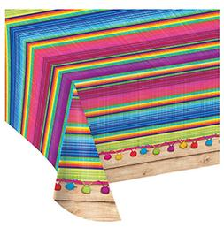 "Fiesta Party Table Cover 54"" x 102"" Mexican Disposable Plast"