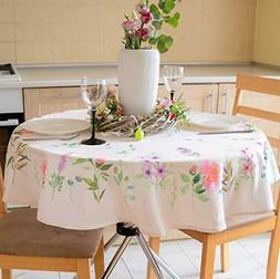 Finest Floral Coloring Round Easter Tablecloth Non-Iron Stai