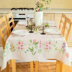 Finest Floral Coloring Square Easter Tablecloth Non-Iron Sta