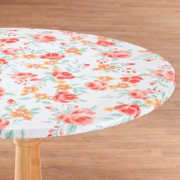 FITTED Vinyl Table Cover Floral Elasticized Round Oval/Oblon