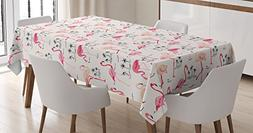 Ambesonne Flamingo Tablecloth, Flamingos in Vintage Style Il