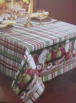 """FLANNEL BACK TABLECLOTH OBLONG 52"""" x 70"""",  APPLES on TABLE b"""