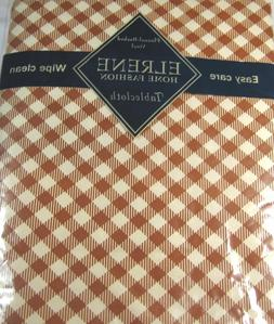 Flannel Back Vinyl Diamond Checks Cinnamon & Cream Tableclot