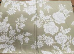 "FLANNEL BACK VINYL TABLECLOTH 52"" x 52"" SQUARE  WHITE FLOWER"