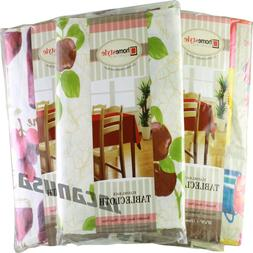 Flannel Back Vinyl Tablecloth Waterproof Floral Assorted Col