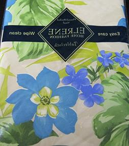 Flannel Backed Vinyl Tablecloths By Elrene -Tropical Blue Fl
