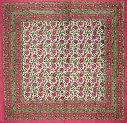 "Floral Block Print Square Cotton tablecloth 60"" x 60"" Pink"