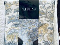 RALPH LAUREN FLORAL Blue Yellow Cotton Jacobean Floral TABLE