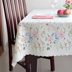 Floral Coloring Rectangle Easter Tablecloth Non-iron Stain R