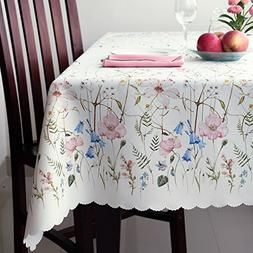 Floral Coloring Rectangle Ivory Tablecloth Non-iron Stain Re