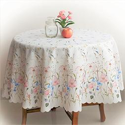 AHOLTA DESIGN Floral Coloring Round Ivory Tablecloth Non-Iro