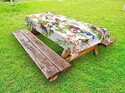 Floral Outdoor Picnic Tablecloth Exotic Spring Flowers Print
