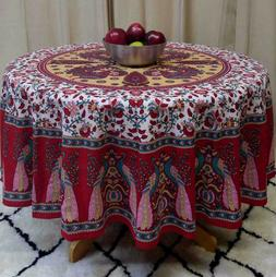 """Handmade Floral Peacock 72"""" Round 100% Cotton Tablecloth Ast"""
