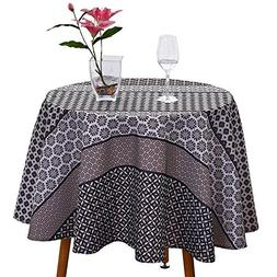 JIATER Floral Printed Table Cloth Spillproof Polyester Fabri
