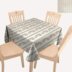 WinfreyDecor Floral Square Tablecloth Country Flower Roses B