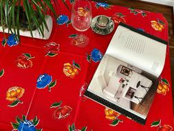 Flowerpots Oilcloth Tablecloth for Patios, Picnic and Kitche