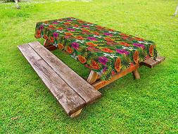 Flowers Theme Outdoor Picnic Tablecloth in 3 Sizes Washable
