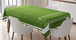Ambesonne Football Tablecloth, Sports Field in Green Gridiro