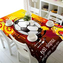 Football Test 3D Tablecloth Table cover Cloth Rectangle Wedd