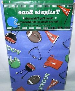 "FOOTBALL Vinyl Tablecloth 52""x 70"" Oblong  TAILGATE PARTY  S"