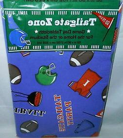 "FOOTBALL  Vinyl Tablecloth  52"" X 90"" Oblong  TAILGATE PARTY"