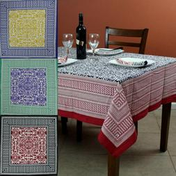 French Country Cotton Geometric Tablecloth Square Table Line