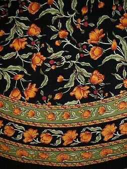 French Floral Round Cotton Tablecloth 88 Amber on Black
