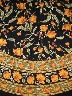 "India Arts French Floral Round Cotton Tablecloth 70"" Amber o"