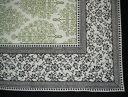 "French Floral Square Cotton Tablecloth 70"" x 70"" Olive & Bla"