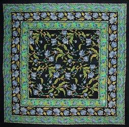 French Floral Square Cotton tablecloth 60 x 60 Blue on Black